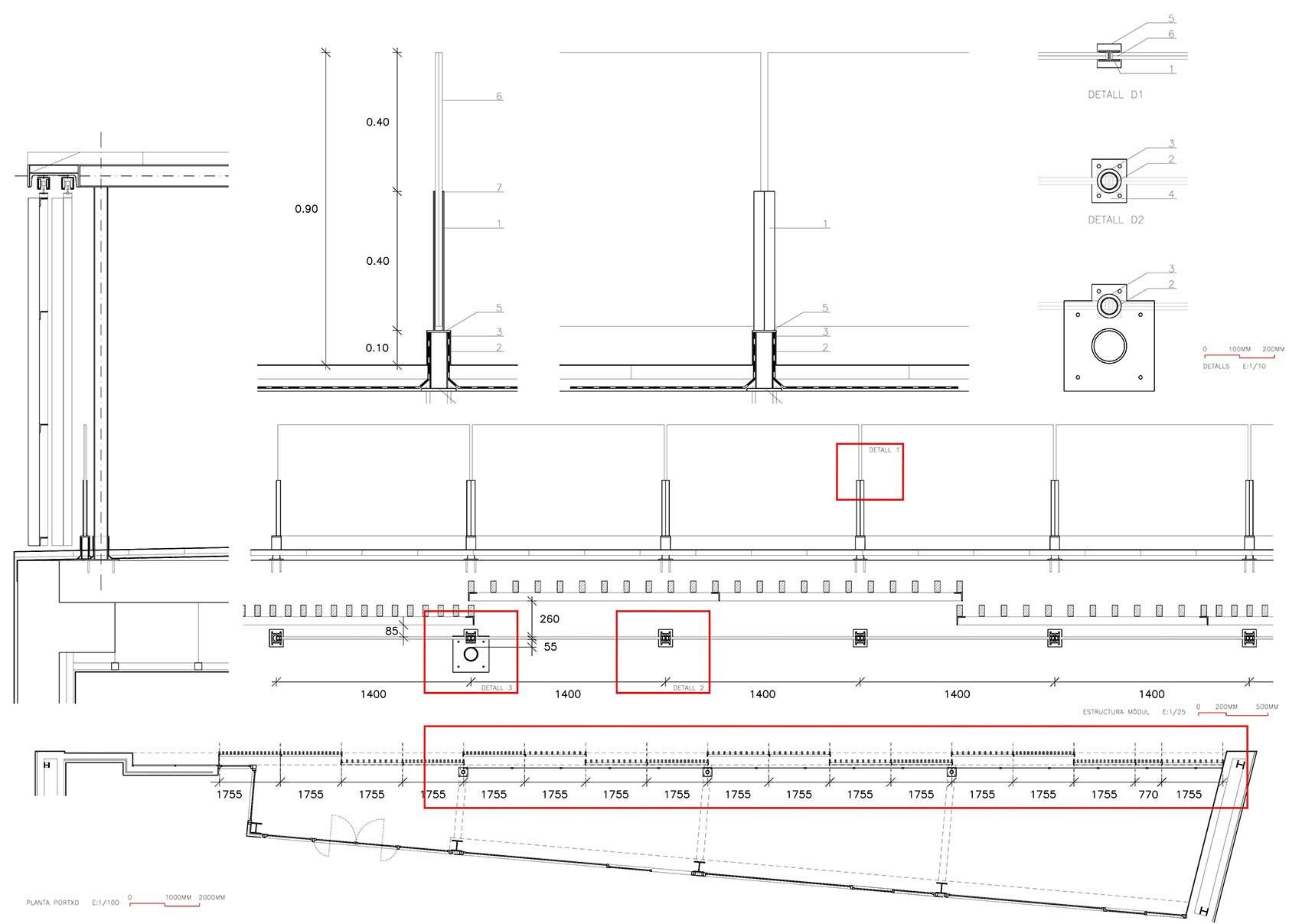 Lamas de madera wooden slats bcq arquitectura - Cubierta sobre plots ...