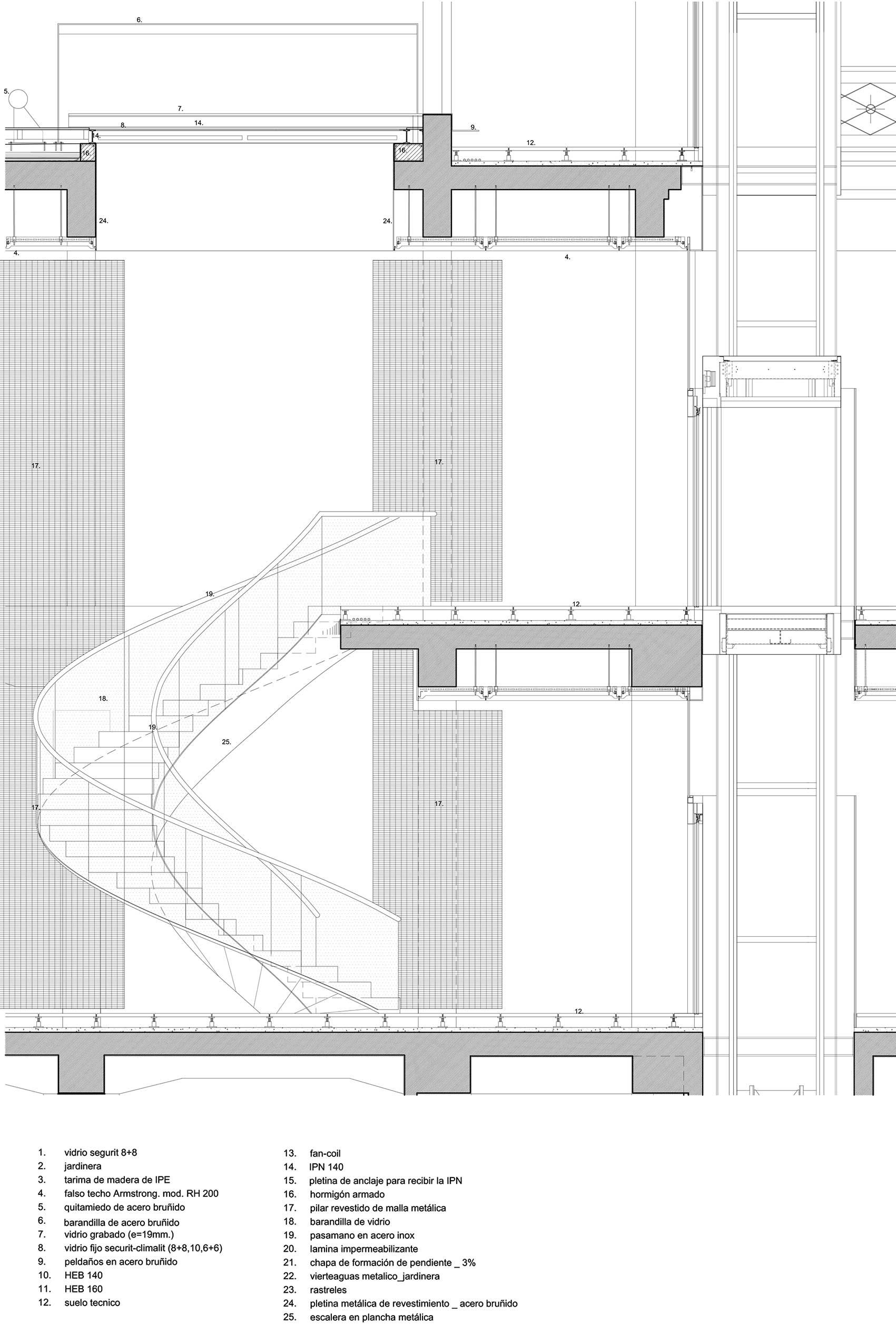 Escalera en espiral spiral staircase octavio mestre for Detalle suelo tecnico